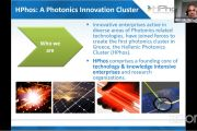 "HPhos president Dr. Elias Hontzopoulos, presenting the cluster at ""24 hours EPIC World Photonics Tour"""
